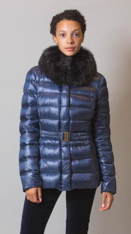 Herno Jacket With Fox Fur Trim And Removable Belt - Navy