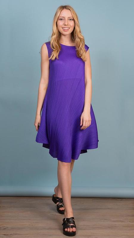 Issey Miyake Pleats Please Flat Circle Fit-&-Flare Dress - Purple