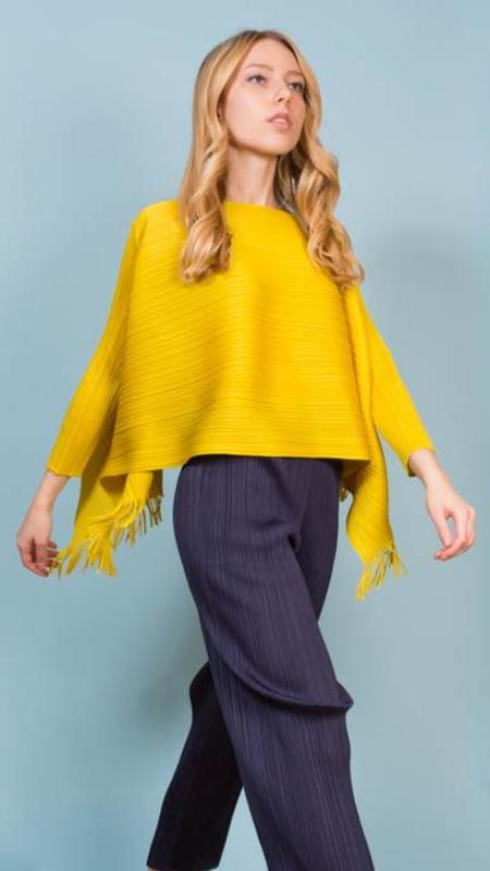 Issey Miyake Pleats Please Long Sleeve Top With Fringe - Yellow