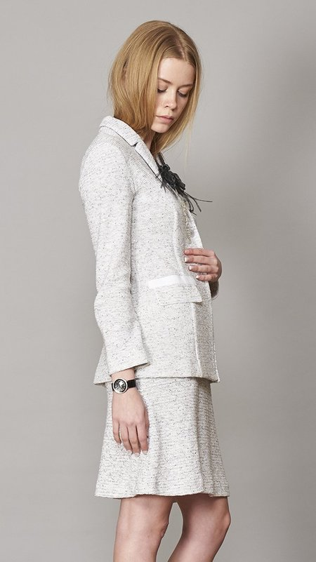 Amina Rubinacci Tweed Blazer - White/Grey