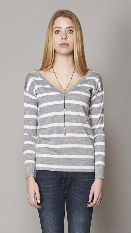 Eleventy V Neck Sweater - Grey/White