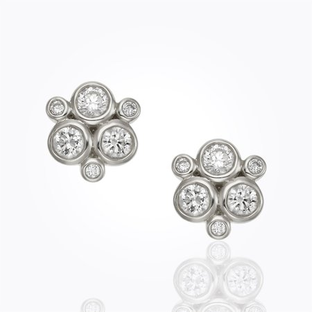 Temple St. Clair White Gold Classic Trio Earrings