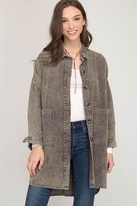 Trend Shop Winter Tour Oversized Button Down Jacket - Ash