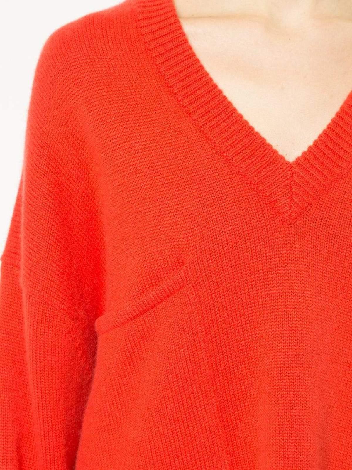 1a3e2e9af55f4a Tibi Cashmere V-Neck Oversized Pullover - Ribbon Red | Garmentory