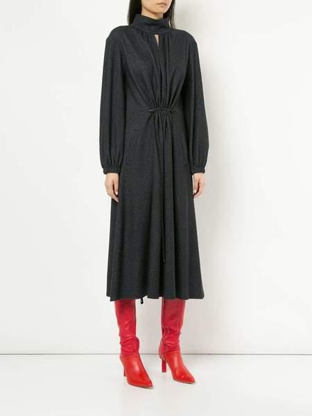 Tibi DBL Faced Tweed Stripe Split Neck Dress - Navy Stripe