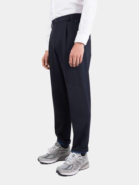 Harris Wharf Cavalry Twill Bicolour Trousers - Navy Blue