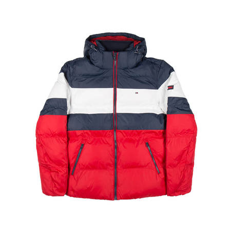 TOMMY JEANS Rugby stripe puff jacket - Blue/Red/White