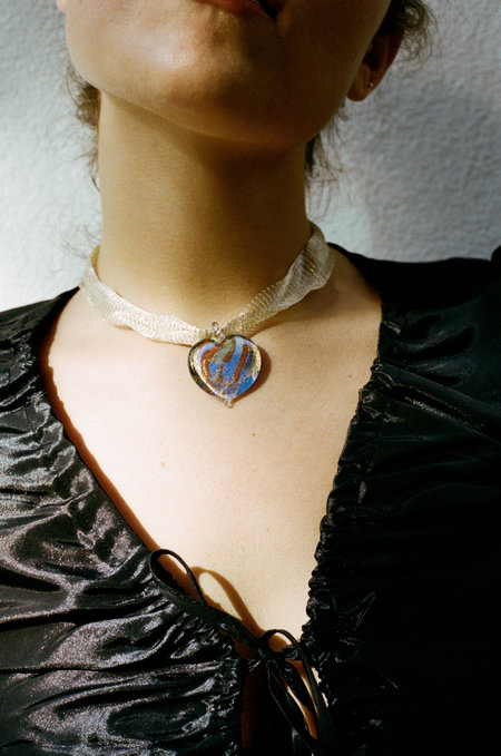 Alexa De La Cruz Glass Heart Necklace - Blue Multi/Gold