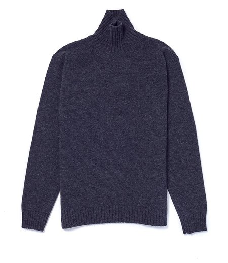 Country of Origin Staple Lambswool Funnel Neck - Charcoal