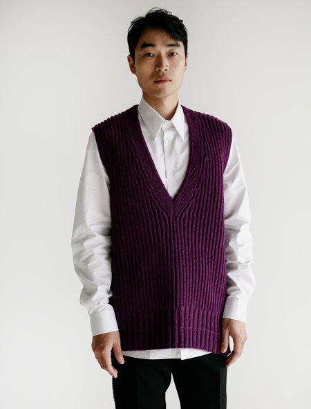 Calvin Klein Sleeveless V Neck Long Vest with Zipper - Violet