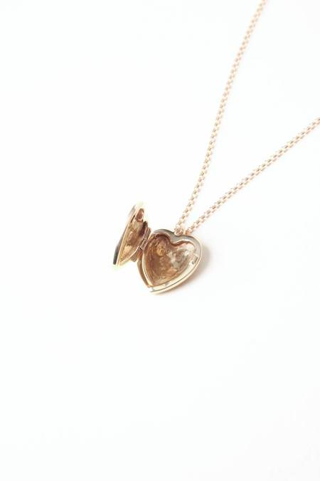 Leah Alexandra Heart Locket - Gold Filled chain/ moonstone