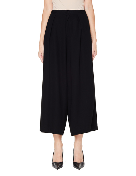 Ys Cropped Rayon Trousers - Black