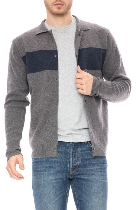 Oliver Spencer Roxwell Knit Collar Sweater Jacket - Swinden Grey/Blue