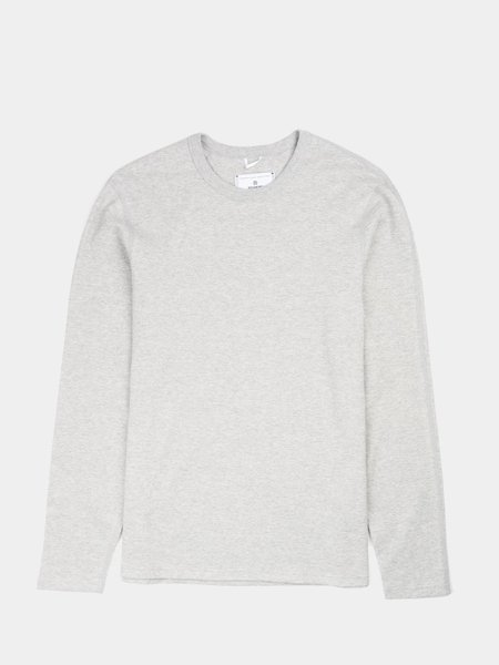Reigning Champ Knit Mesh Flatback Long Sleeve T-Shirt - Heather Grey