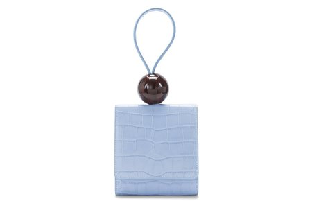 By Far Embossed Leather Ball Bag - Sky Blue Croco