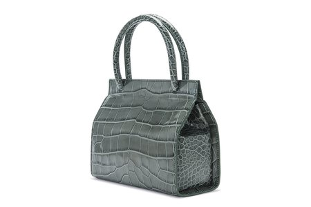 By Far Embossed Leather Val Bag - Green Croco