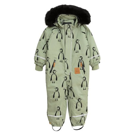 Kids Mini Rodini Baby Kebnekaise Penguin Snowsuit - Green