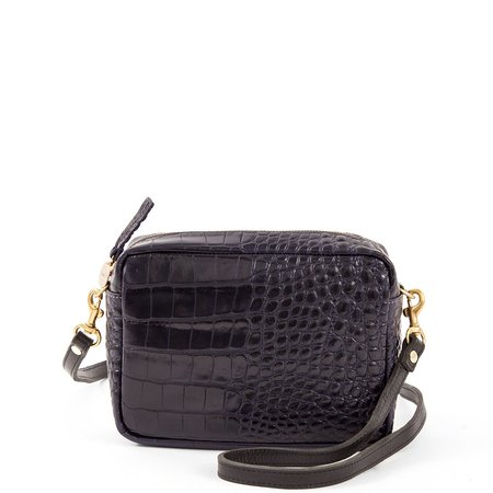 Clare V. Croco Midi Sac Bag - Midnight
