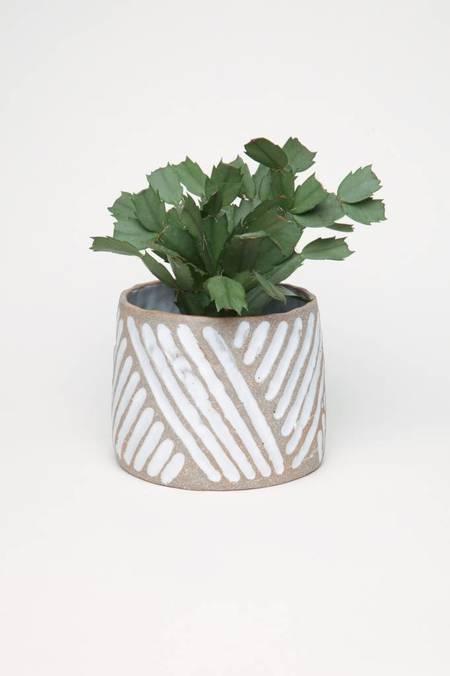 Alice Cheng Studio Carved Medium Planter - White Glazed