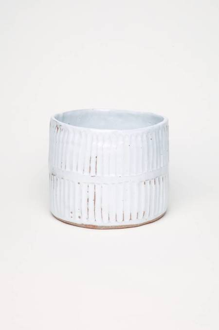 Alice Cheng Studio Skinny Rows Carved Large Planter - White