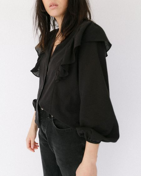 Side Party Melo Buttoned Ruffled Shoulder Blouse - Black