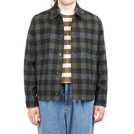 Norse Projects Elliot Wool Check - Magnet Grey