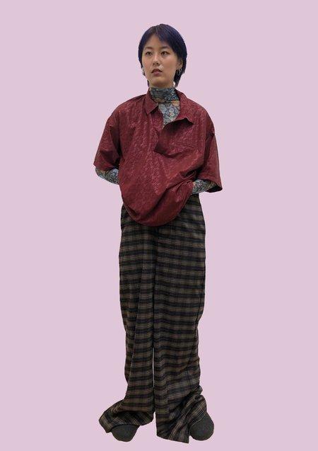 unisex Má Là Lǎo by HONGZEWEI BURGUNDY Lace POLO SHIRT