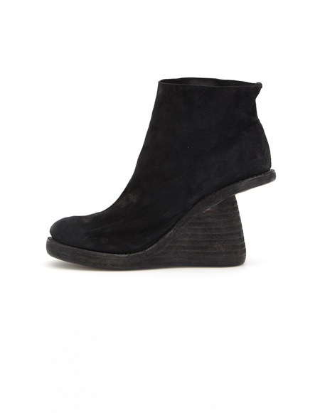 Guidi Wedge Heel Suede Ankle Boots - Black