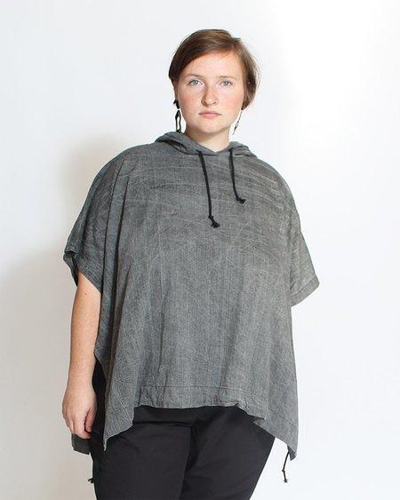 Uzi NYC Hooded Poncho - Acid Wash Grey