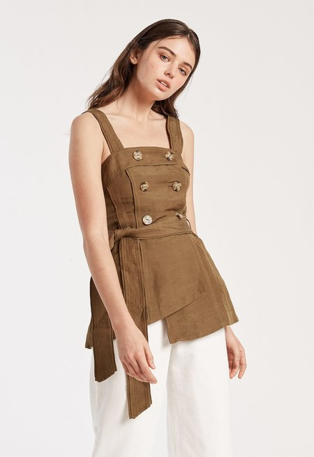 C/MEO Button Strap Top - Taupe