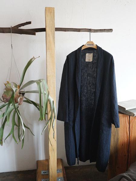 JAMMER Linen Stripe Robe - Navy