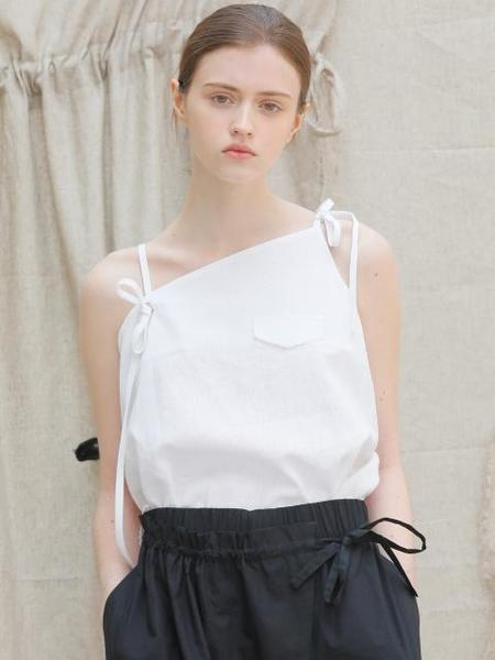 ECOMMAE Unbalanced Ribbon Linen Top - White