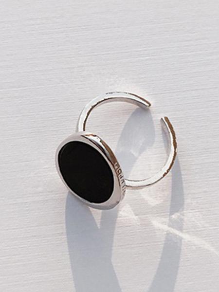 CONTEMPO.H Black Serpentine Pebble Silver Ring