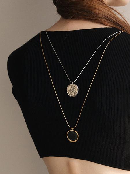 CONTEMPO.H Black Serpentine Pebble Opera Necklace
