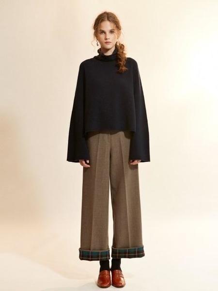 Akro Check Coloration Super Wool Pants - Mocha
