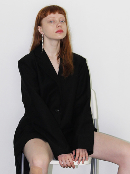 LEGATO Unbalance Belted Jacket - Black
