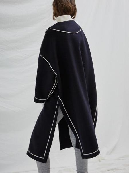 Blushed Reversible Piping Coat - Navy