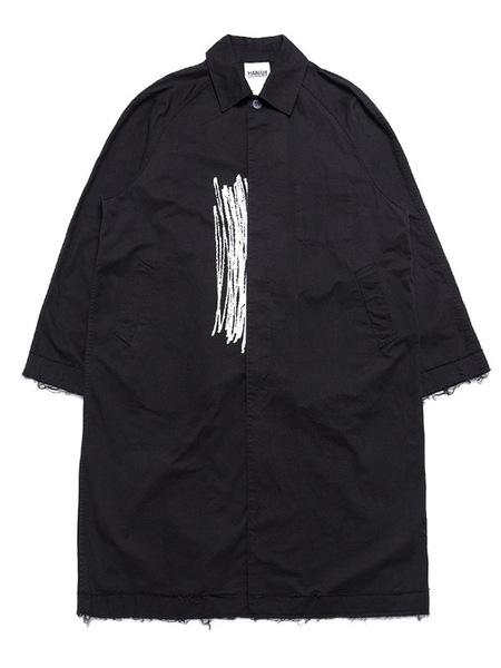 Unisex Hanah Raw Cut Trench Coat - Black