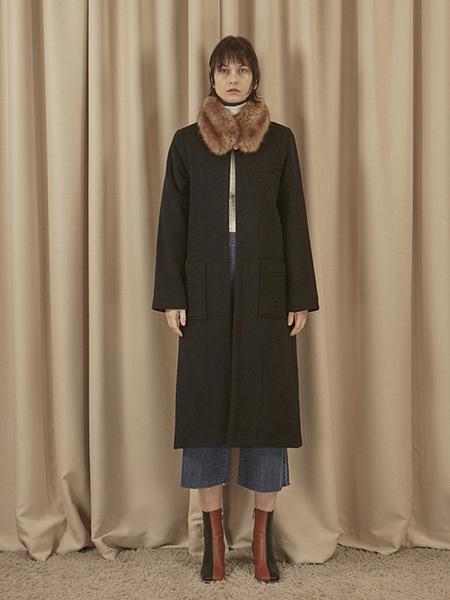 EOM No Collar Wool Coat - Dark Navy