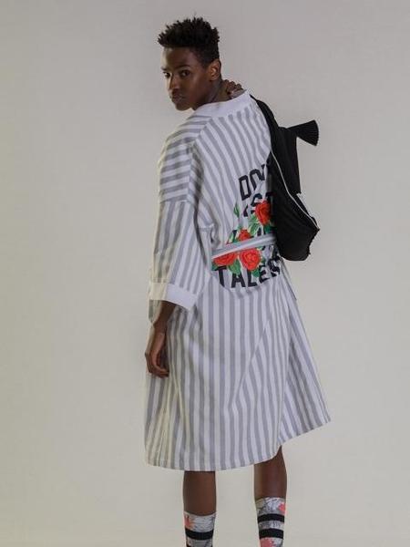 Unisex Balant Original Embroidery Robe - Gray Stripe