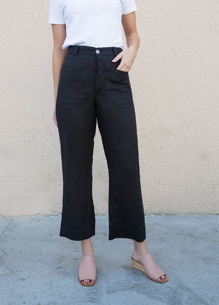 Sasha Darling Linen Sailor Jean Pants - BLACK