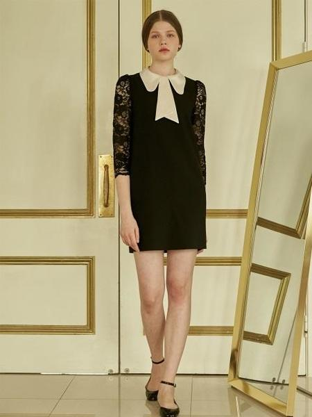 DEBB Signature Satin Collar Lace Dress - Black