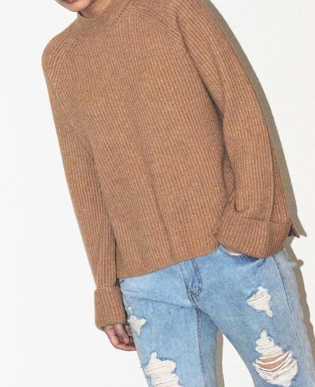 Ayiholic Cashmere Cashmere Wide Cuffs Cashmere Knit Top - Camel