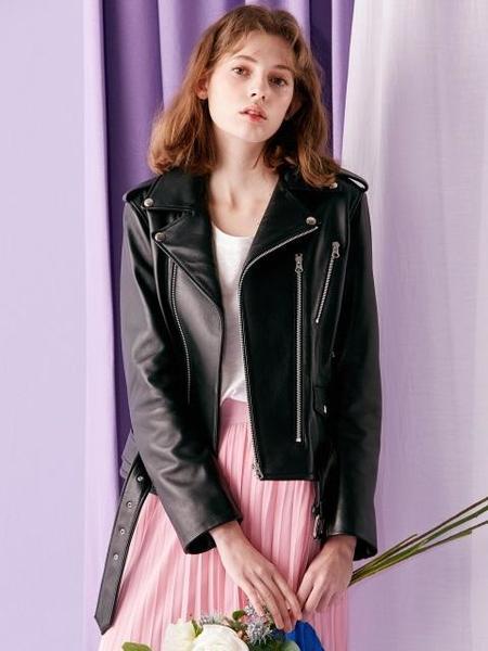 INUSWAY Short Sheepskin Leather Jacket - BLACK