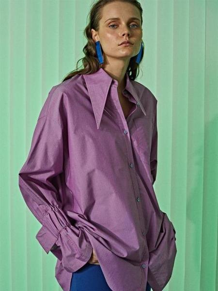 ETCH Oversized Elasticated Cuff Striped Shirts