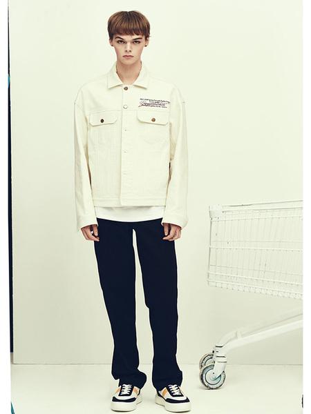 Unisex BC By Beyondcloset Collection Line Button Detail Denim Jacket - Ivory