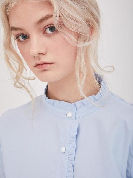 ANSWERING BIRD Ivy Frill Shirts - Blue