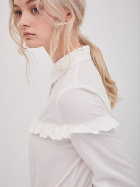 ANSWERING BIRD Dalia Frill Shirts - White