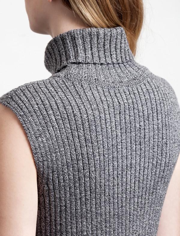 1205 Merchant Merino Rib Polo Dress Grey