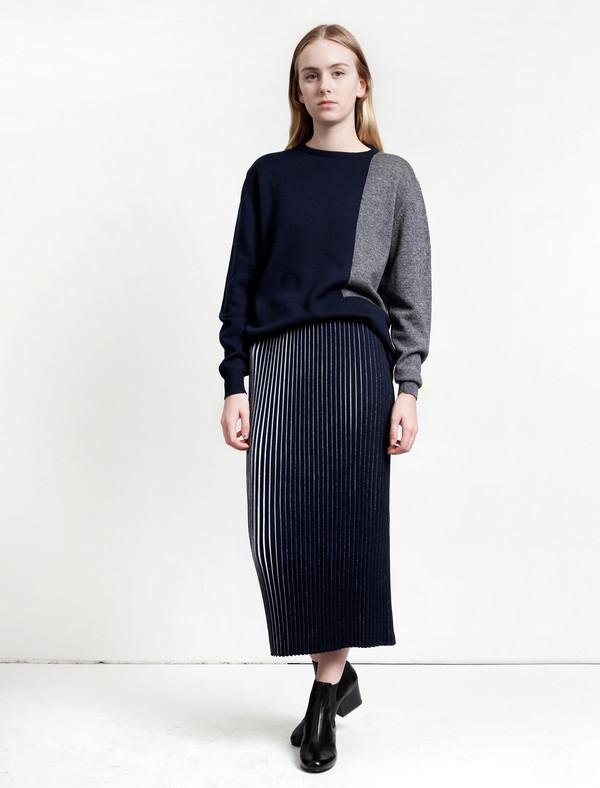 1205 Slab Merino Pleated Skirt Blue/White